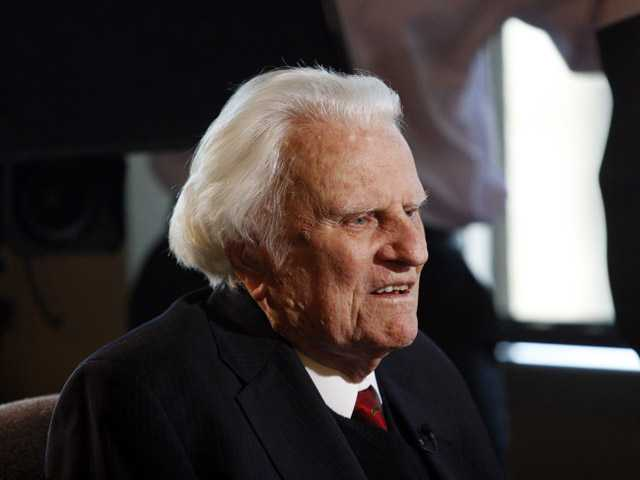 In this Dec. 20, 2010  photo, evangelist Billy Graham speaks to the media at the Billy Graham Evangelistic Association headquarters in Charlotte.