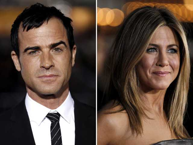 This combo made from Feb. 16 photos shows Justin Theroux, left, and Jennifer Aniston.