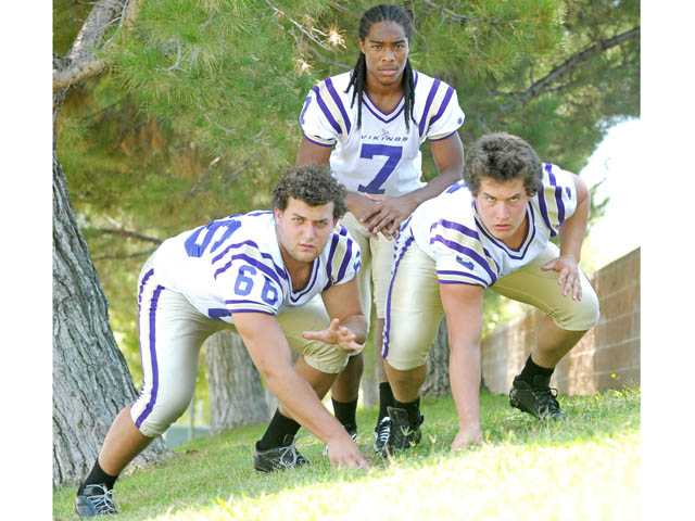 From left, Valencia lineman Grayson Largman, defensive back Tedric Thompson and lineman Jake Solley will be counted on this year to follow up on a dominant defensive season for the Vikings in 2011 despite the graduation of top-notch talent.