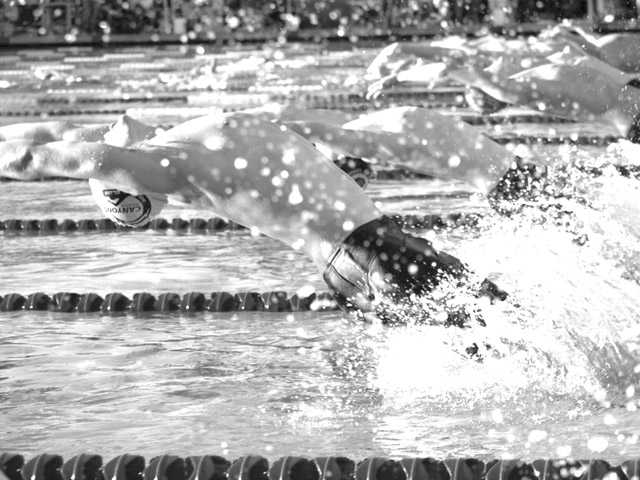 Swimmers compete in the Stage 6 finish of a Canyons Aquatics Club event of California in Santa Clarita in February 2008.