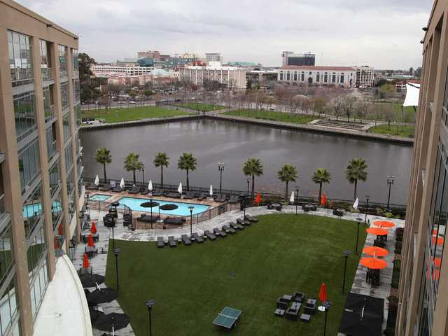 In this Feb. 29, 2012 file photo a view of the Stockton waterfront, built with redevelopment funds is seen from the Waterfront Hotel in Stockton.