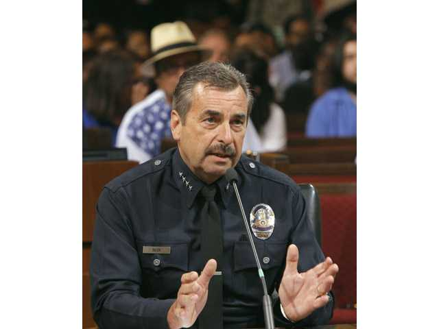 Los Angeles Police Chief Charlie Beck speaks a Los Angeles City Council meeting where the issue of whether to ban marijuana dispensaries that have sprung up throughout the city was being considered.