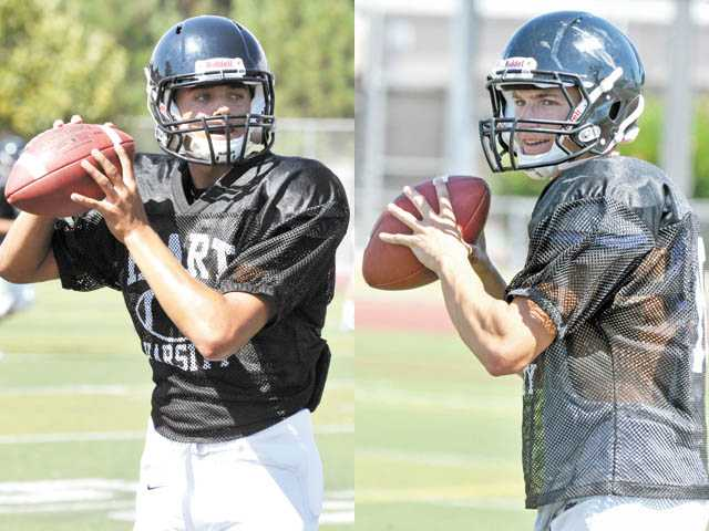Sophomore quarterback Brady White, left, and junior quarterback Connor Wingenroth, right, are competing for the starting job at Hart High. Wingenroth has a year of experience under his belt, but White has impressed during the offseason. Could the Indians go with a two-QB system?