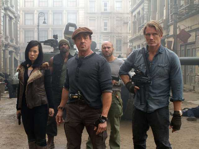 "This film image released by Lionsgate shows, from left, Yu Nan, Terry Crews, Sylvester Stallone, Randy Couture and Dolph Lundgren in a scene from ""The Expendables 2."""