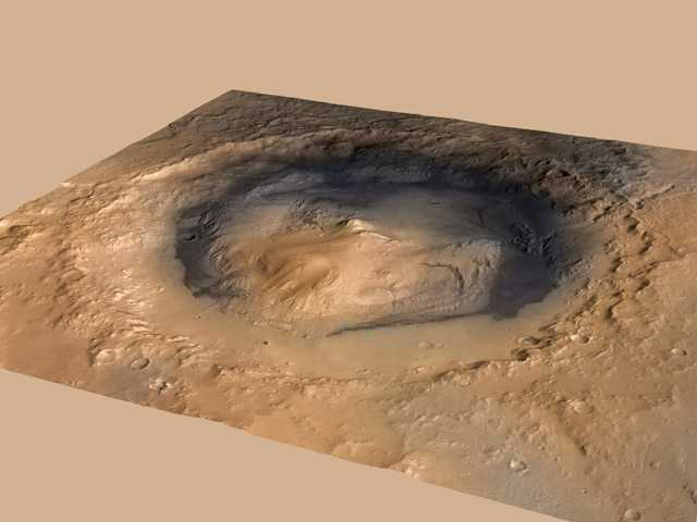 This image provided by NASA shows the Gale Crater Martian landing site for the Curiosity Mars rover.