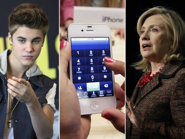 This photo combo shows, from left, entertainer Justin Bieber, an iPhone, and Secretary of State Hillary Rodham Clinton.