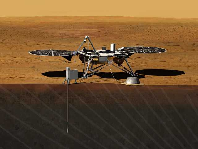 This image provided by NASA shows an artist rendition of the proposed InSight (Interior exploration using Seismic Investigations, Geodesy and Heat Transport) Lander.