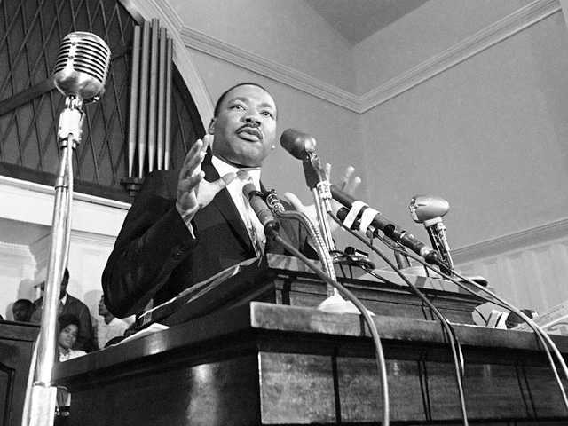 In this 1960 file photo, Martin Luther King Jr. speaks in Atlanta. A 1960 recording of an interview with King never before heard in public is up for sale.