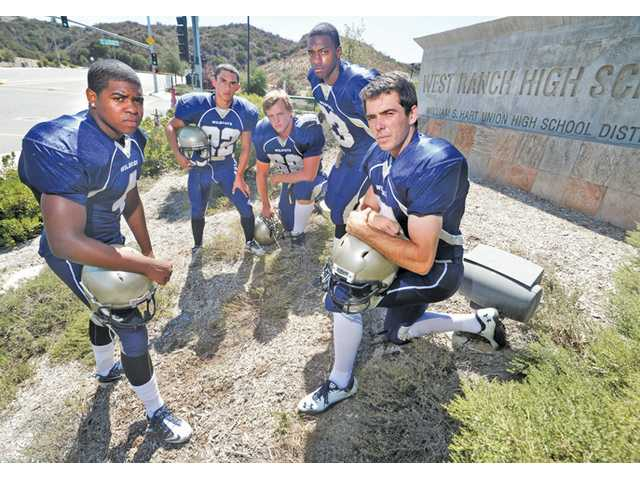 West Ranch players, from left, Rawston Redick, Zahr Lyttle, Jake Lambirth, Mark Collins and Gerrit Mouw are going to collectively play a big part in whether or not the team can bounce back from a fifth-place finish in the Foothill League last season.