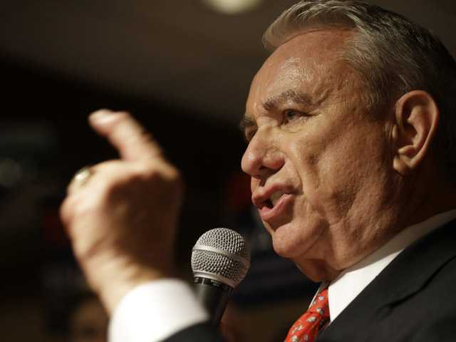 Former Wisconsin Gov. Tommy Thompson appears at his primary election night party Aug. 14 in Waukesha, Wis.