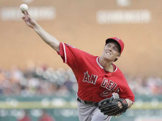 Angels pitcher Zack Greinke delivers against the Detroit Tigers on Friday in Detroit.