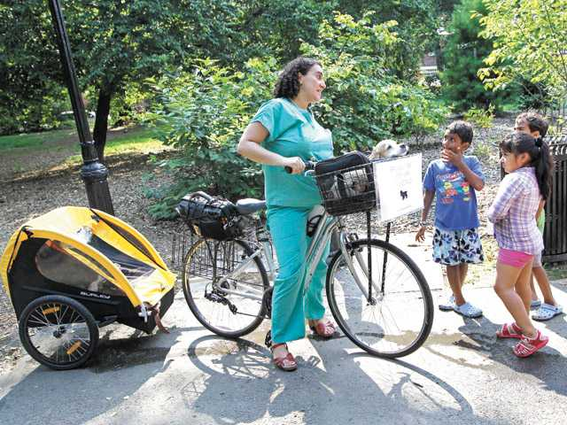 Coletti, a Brooklyn-based veterinarian who makes house calls, commuting to an appointment with her own pet, Milo, a Cocker Spaniel, in the front basket of her bicycle as she stops to chat with some youngsters in Prospect Park en route in New York.
