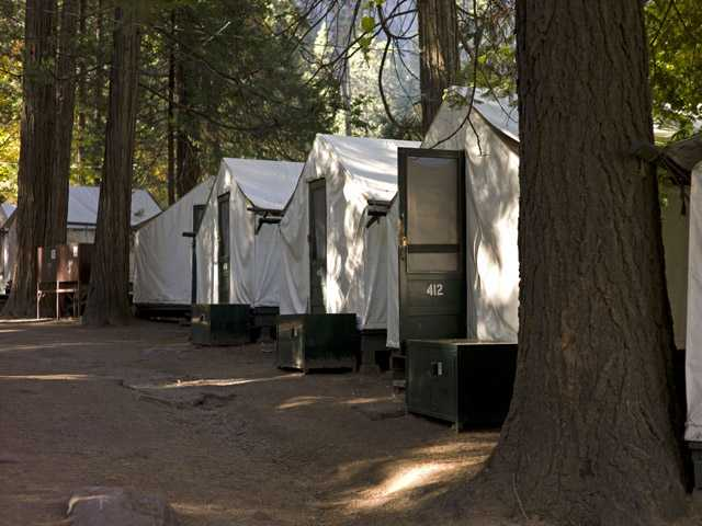 In this photo from Oct. 23, tents are seen in Curry Village in Yosemite National Park, Calif.