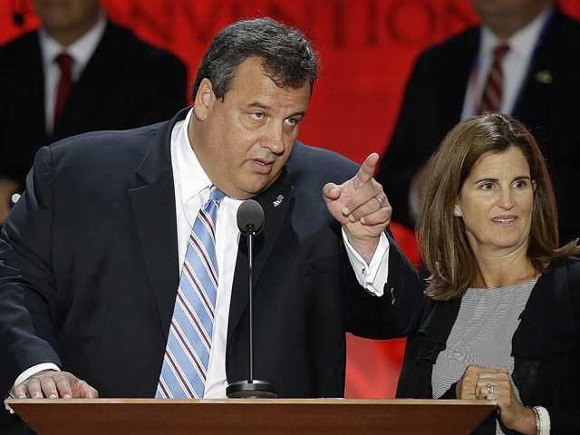 New Jersey Governor Chris Christie and his wife Mary Pat looks over the podium during a sound check at the Republican National Convention in Tampa, Fla., on Tuesday.