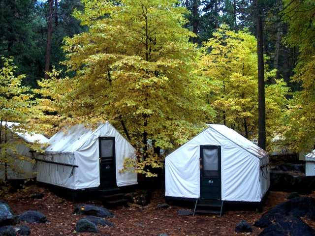 In this undated photo, visitors to a these tent cabins at Yosemite National Park in California may have been exposed to a rare but potentially deadly rodent-carried virus.