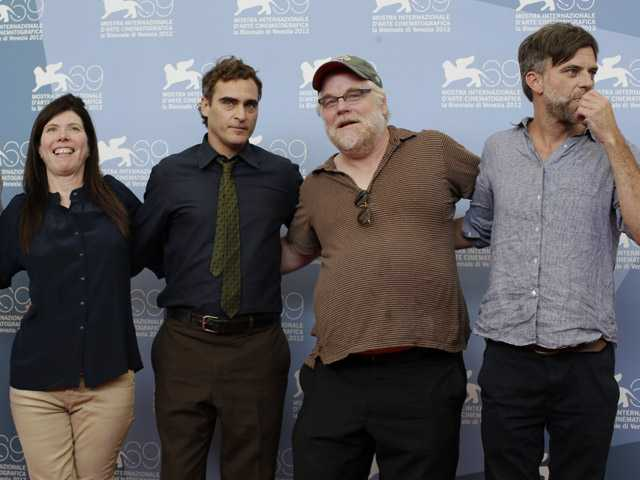 From left, producer JoAnne Sellar, actors Joaquin Phoenix, Philip Seymour Hoffman and Director Paul Thomas Anderson pose  for the film 'The Master' at  the Venice Film Festival in Venice, Italy, on Saturday.