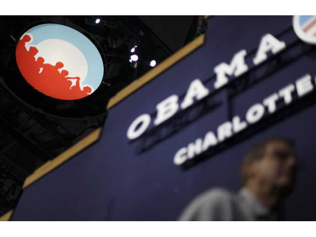 Obama campaign logo under the scoreboard hanging from the ceiling inside of Time Warner Cable Arena at the Democratic National Convention in Charlotte, N.C.