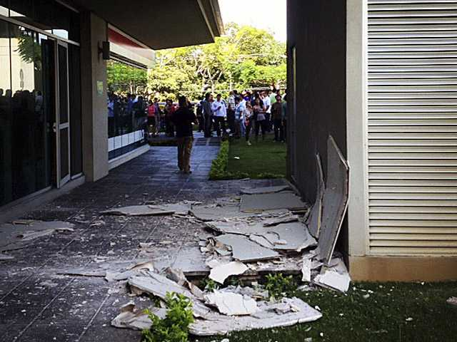 Damage at an office building in San Jose, Costa Rica after an earthquake struck Wednesday.