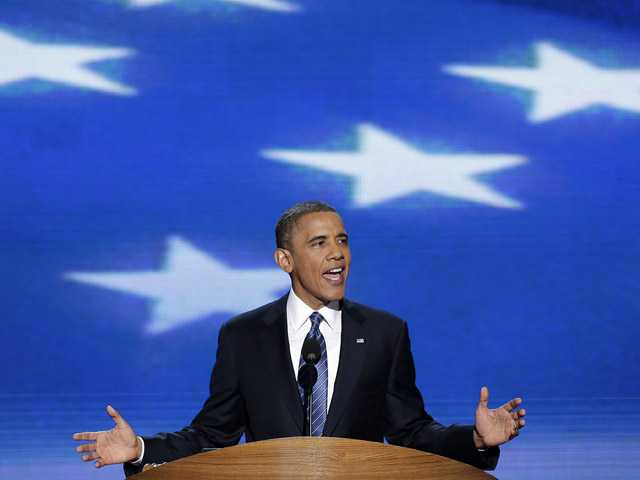 President Barack Obama addresses the Democratic National Convention in Charlotte, N.C., on Thursday.