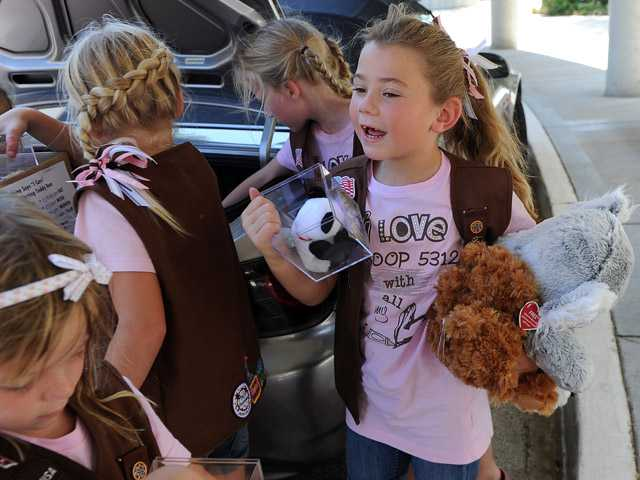 Brownie Megan Rittenberg, 7, puts donated Ty Beanie Babies in a box.