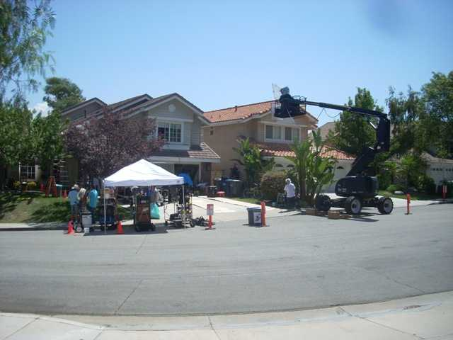 A residential home is part of a feature film taking place on location in a Saugus community on Aug. 22.