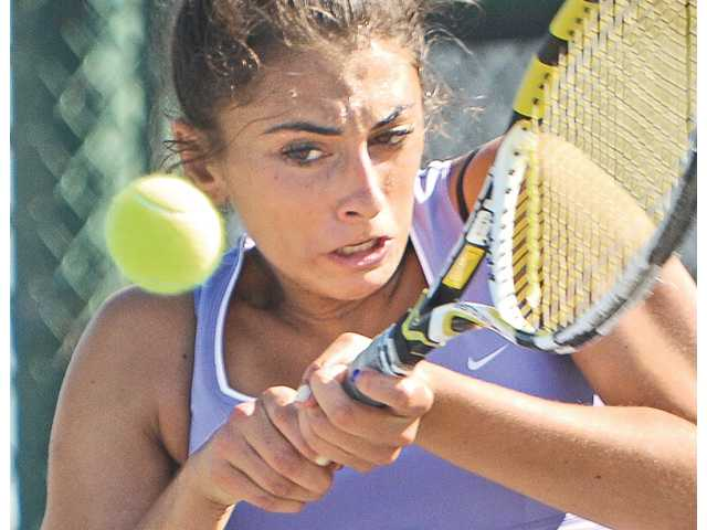Valencia No. 1 singles player Brigitta Benitez swept three sets for the Vikings on Tuesday afternoon at Valencia High School.