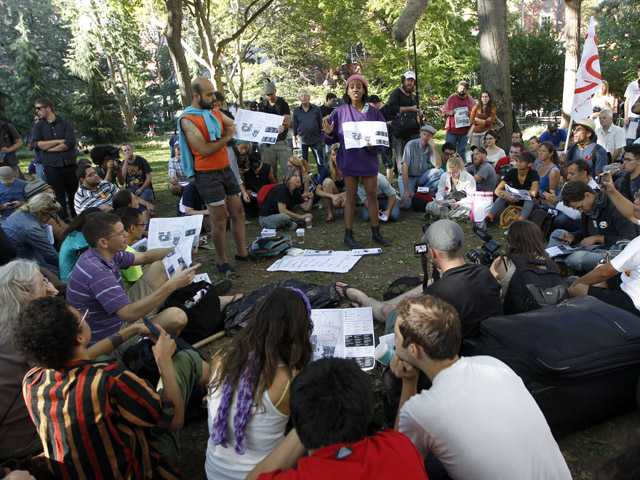 Activists associated with the Occupy Wall Street movement participate in a general assembly in Washington Square park, on Saturday in New York.