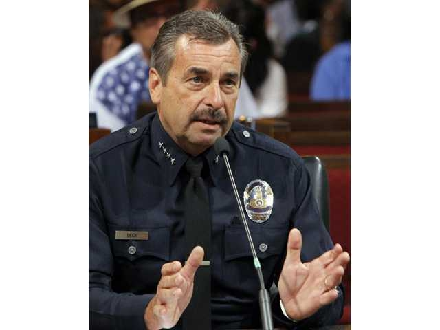 Los Angeles Police Chief Charlie Beck speaks a Los Angeles City Council meeting on July 24 in Los Angeles.