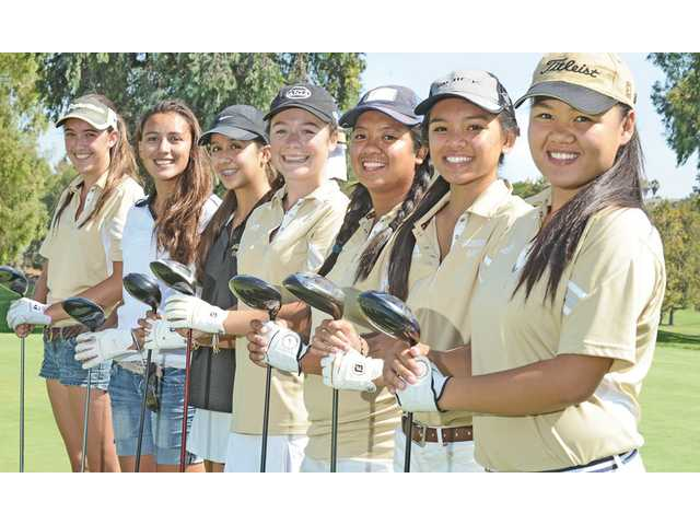 Golden Valley golfers, from left, Ashley Pfenning, Kaitlyn Thayer, Elisa Pierra, Amanda Hobbs, Illeana Dullas and Gabby and Camille Mendoza are looking for a breakthrough this year.