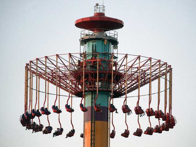 People on the Windseeker ride at Knott's Berry Farm are stuck a few hundred feet off the ground Wednesday in Buena Park.
