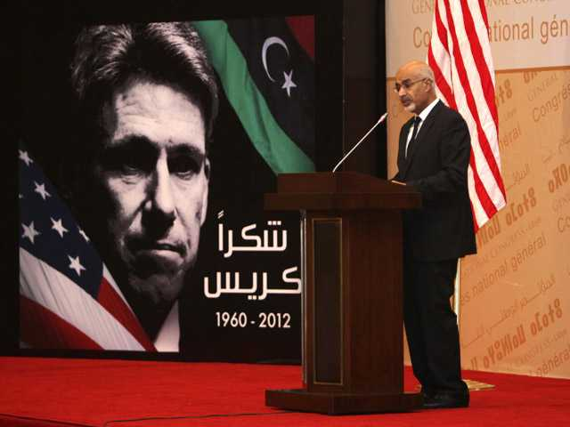 Libyan President Mohammed el-Megarif speaks during a memorial service in Tripoli, Libya, on Thursday