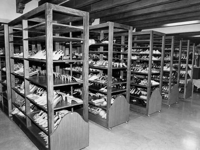 Shoes belonging to Philippine former first lady Imelda Marcos are seen lined up on shelves in the Malacanang Palace in Manila in 1986.