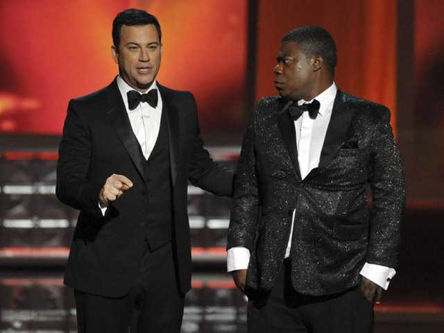 Host Jimmy Kimmel, left, and Tracy Morgan perform onstage at the 64th Primetime Emmy Awards at the Nokia Theatre on Sunday.