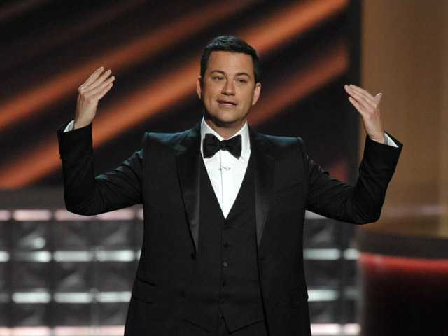Host Jimmy Kimmel speaks onstage at the 64th Primetime Emmy Awards at the Nokia Theatre on Sunday in Los Angeles.