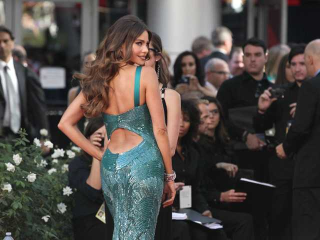 Sofia Vergara arrives at the 64th Primetime Emmy Awards at the Nokia Theatre on Sunday in Los Angeles.