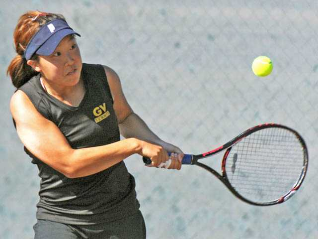 Golden Valley senior Rebecca Ho returns a shot during Monday's match against Hart at Golden Valley High.