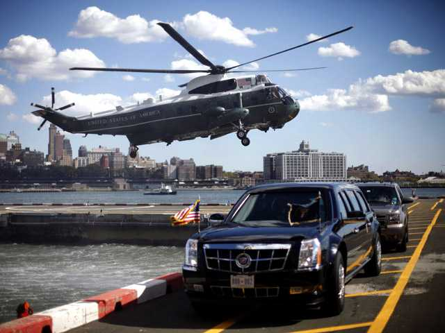 The Marine One helicopter, with President Barack Obama aboard, lands at the Wall Street heliport in New York on Monday.