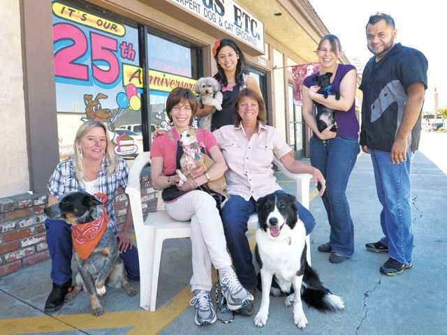 Dogs Etc. owner Bonny Butler, seated left, will celebrate her shop's 25th anniversary with her staff of master groomers from left, KellyJo Vercoe, Brittany McAhren, standing, Denna Cooper, seated right, Amber Dyer, and Luis Sanchez, standing right.