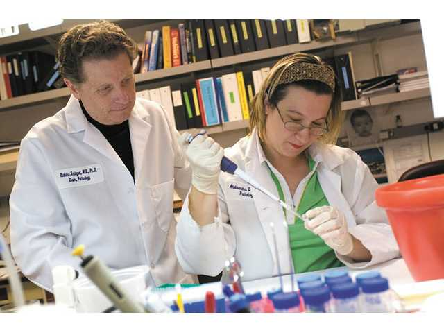 This 2008 picture provided by Georgetown University shows Richard Schlegel, M.D., Ph.D., left, and research associate Aleksandra Dakic, Ph.D., in his laboratory at Georgetown University Medical Center in Washington.