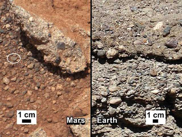 This image provided by NASA shows shows a Martian rock outcrop near the landing site of the rover Curiosity thought to be the site of an ancient streambed, next to similar rocks shown on earth.