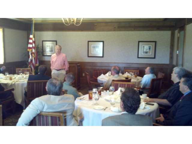 State Board of Equalization member George Runner addresses members of the Santa Clarita Valley chapter of the Lincoln Club at the Tournament Players Club in Valencia on Friday.