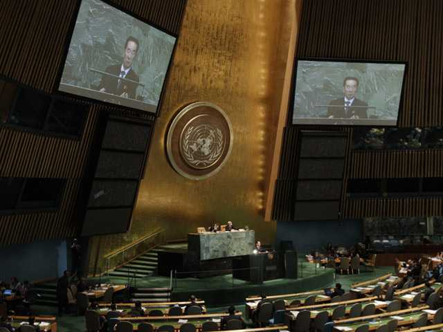 North Korean Deputy Vice Minister Pak Kil Yon addresses the 67th session of the United Nations General Assembly at U.N. headquarters.