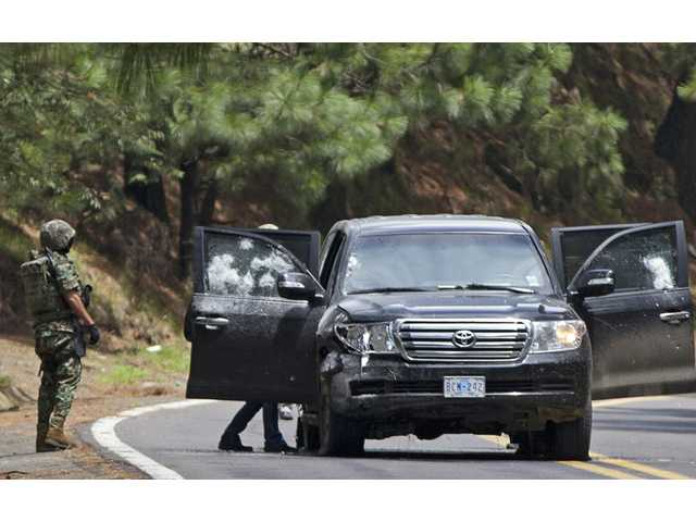 An armored U.S. embassy vehicle was attacked in August by unknown assailants on the highway leading to the city of Cuernavaca, Mexico.