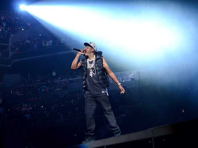 Rapper Jay-Z performs the inaugural concert at the Barclays Center in Brooklyn on Friday Sept. 28, 2012 in New York.