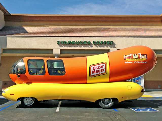 The Oscar Mayer Wienermobile makes a stop at the Albertsons in Saugus on Wednesday.