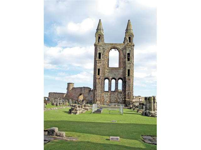 The ruins of St. Andrews Cathedral, in St. Andrews Scotland. The cathedral was destroyed during the Reformation in the 16th century. The original cathedral dates from 1158.
