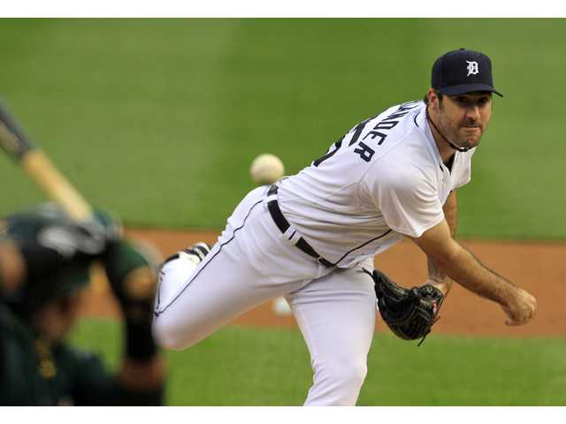 Detroit Tigers starting pitcher Justin Verlander throws to the Oakland Athletics on Saturday Detroit.