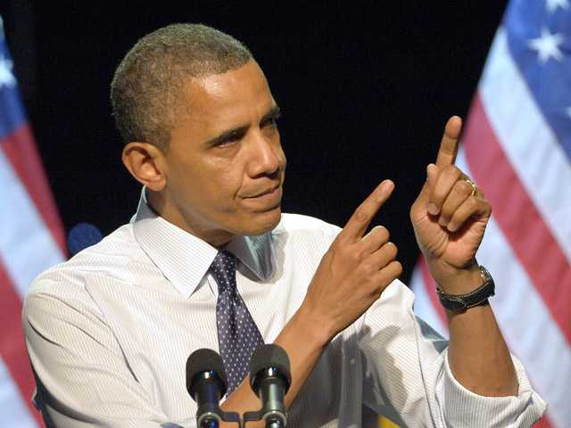 President Barack Obama speaks at a campaign event at the Nokia Theater, Sunday in Los Angeles.