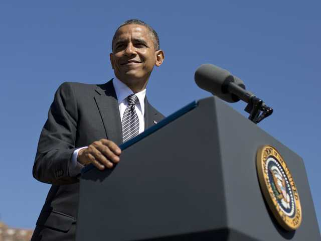 President Barack Obama speaks at the Cesar E. Chavez National Monument on Monday in Keene, Calif.