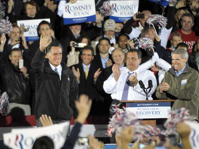 Republican presidential candidate and former Massachusetts Gov. Mitt Romney campaigns with New Jersey Gov. Chris Christie.